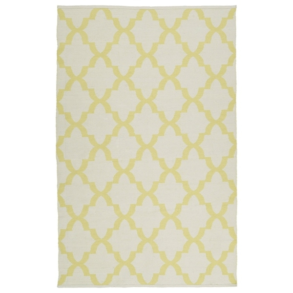 Indoor/Outdoor Laguna Ivory and Yellow Trellis Flat-Weave Rug - 8' x 10'