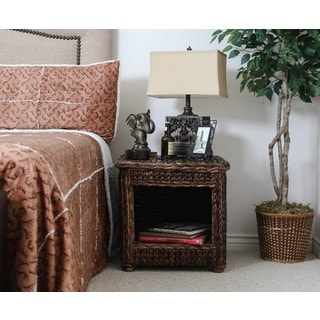 Somette 23-inch Rattan Indoor/ Outdoor Square Nightstand