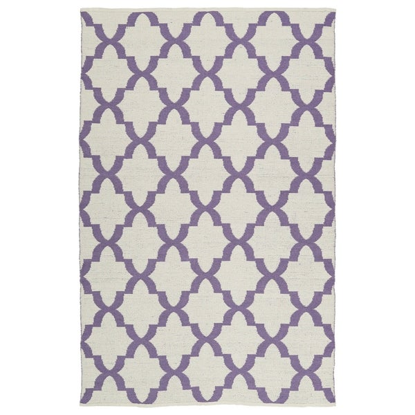 Indoor/Outdoor Laguna Ivory and Lilac Trellis Flat-Weave Rug - 8' x 10'