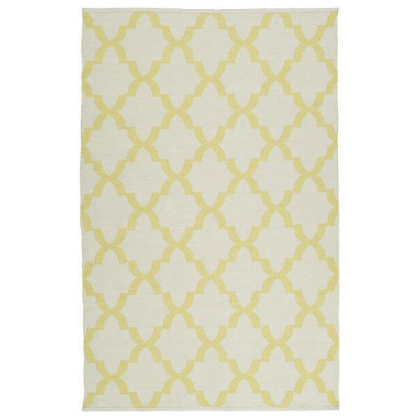 Indoor/Outdoor Laguna Ivory and Yellow Trellis Flat-Weave Rug - 9' x 12'