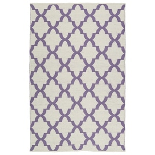 Indoor/Outdoor Laguna Ivory and Lilac Trellis Flat-Weave Rug (5'0 x 7'6)