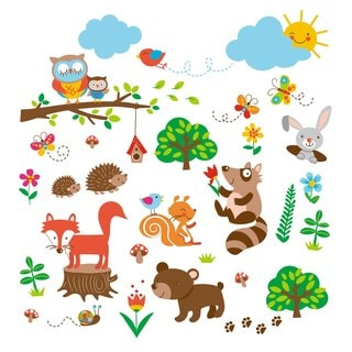 Into the Woods Woodland Peel & Stick Kids Room/Nursery Wall Decal for Boys & Girls