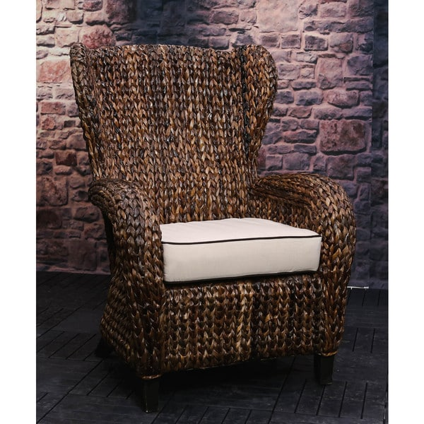 Somette Rattan Indoor Outdoor Sloped Arm Wingback Club