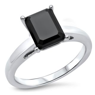 Noori 14k White Gold 2 CT Black Emerald-cut Diamond Engagement Ring