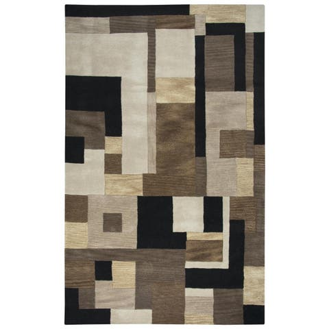 Rizzy Home Black Home Craft Hand-Tufted 100-percent Wool Accent Rug (3' x 5') - 3' x 5'