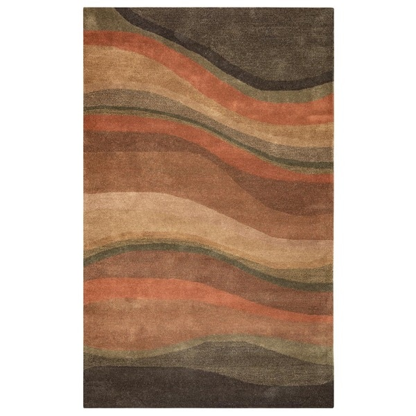 Rizzy Home Rust/ Burgundy Colours Collection Hand-Tufted New Zealand Wool Accent Rug - 8' x 10'