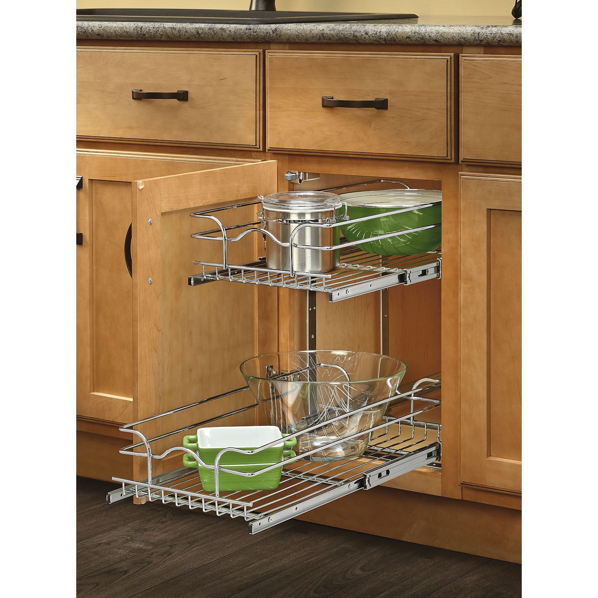 Pull Out Wire Basket Storage Two Tier Under Cabinet Organizer Chrome Finish