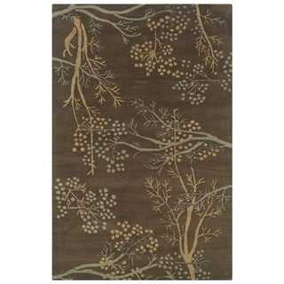 Rizzy Home Brown Home Craft Collection Hand-Tufted 100-percent Wool Accent Rug (3' x 5')
