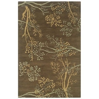 Rizzy Home Brown Home Craft Collection Hand-Tufted 100-percent Wool Accent Rug (3' x 5') - 3' x 5'