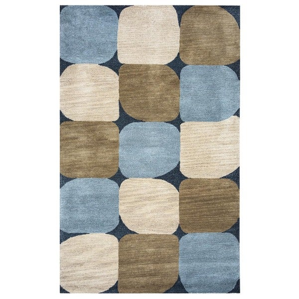 Rizzy Home Blue Hand-Tufted New Zealand Wool Accent Rug (8' x 10') - 8' x 10'