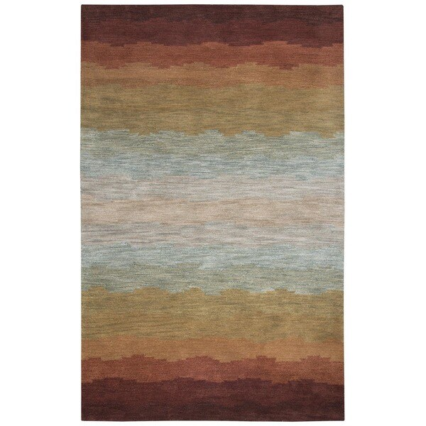 Rizzy Home Rust Colours Collection Hand-Tufted New Zealand Wool Accent Rug - 8' x 10'