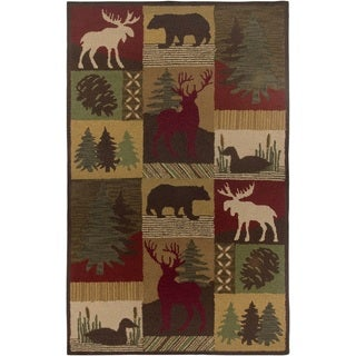 Rizzy Home Brown Country Collection Hand-Tufted New Zealand Wool Accent Rug (3' x 5')