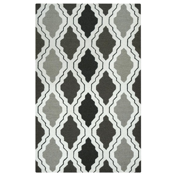 Rizzy Home Country Collection Grey Hand-Tufted New Zealand Wool Accent Rug (8' x 10') - 8' x 10'