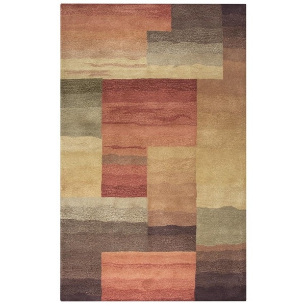 Rizzy Home Grey Colours Collection Hand-Tufted New Zealand Wool Accent Rug - 5' x 8'