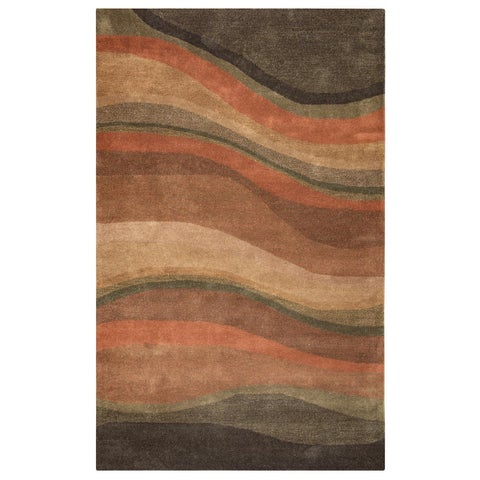 Rizzy Home Rust Colours Collection Hand-Tufted New Zealand Wool Accent Rug (5' x 8') - 5' x 8'