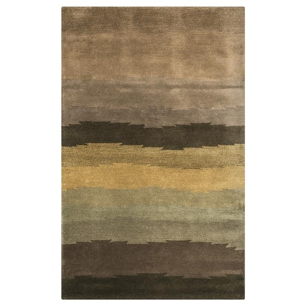 Rizzy Home Brown Colours Collection Hand-Tufted New Zealand Wool Accent Rug (5' x 8')