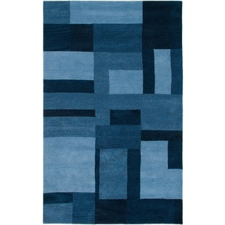 Rizzy Home Blue Colours Collection Hand-Tufted New Zealand Wool Accent Rug (5' x 8')