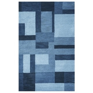 Rizzy Home Blue Colours Collection Hand-Tufted New Zealand Wool Accent Rug (5' x 8') - 5' x 8'