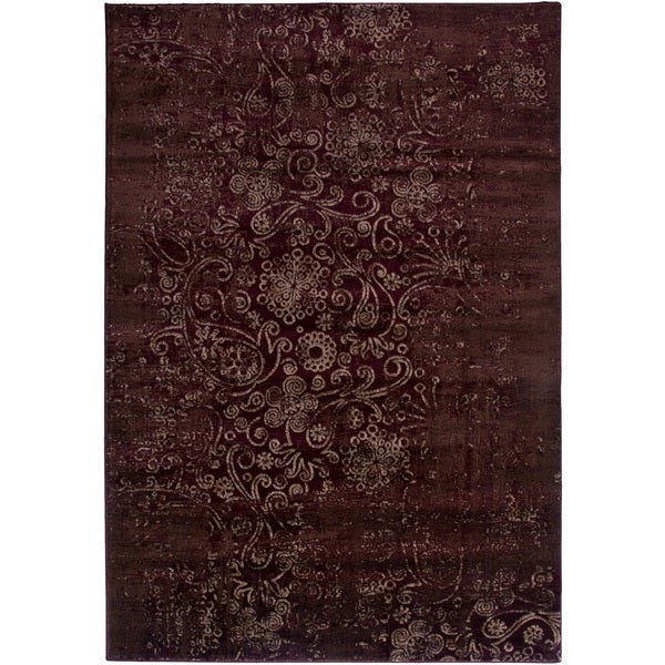 Rizzy Home Ivory/ Red Galleria Collection Power-Loomed Traditional Accent Rug (5'3 x 7'7)
