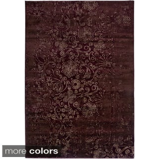 Rizzy Home Ivory/ Red Galleria Collection Power-Loomed Traditional Accent Rug (7'10 x 10'10)