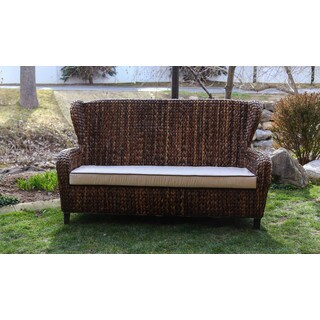 Somette Indoor/Outdoor Rattan Sloped Arm Sofa - 3 Seater