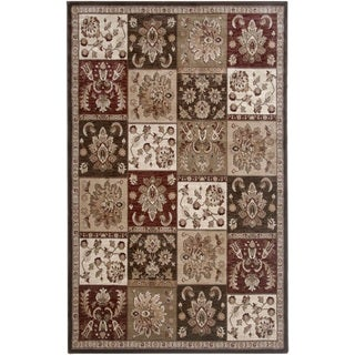 Rizzy Home Brown Galleria Collection Power-Loomed Traditional Accent Rug (4' x 5'7)