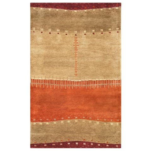 """Rizzy Home Beige Mojave Collection Hand-Tufted Wool Rug (3'6 x 5'6) - 3'6"""" x 5'6"""""""