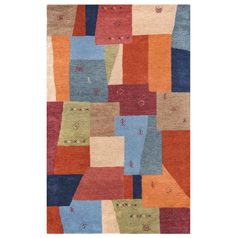 Rizzy Home Mojave Collection Orange Colorblock Rug