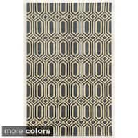 Rizzy Home Blue/ White/ Grey/ Gold Julian Pointe Collection 100-percent Wool Hand-Hand-Tufted Accent Rug - 9' x 12'