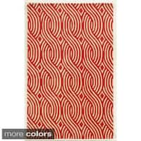 Rizzy Home Ivory/ White/ Blue/ Red/ Green/ Gold Julian Pointe Collection 100-percent Wool Hand-Hand-Tufted Accent Rug (5' x 8')