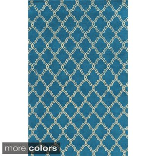 Rizzy Home White/ Blue/ Red/ Green/ Gold/ Orange Julian Pointe Collection 100-percent Wool Hand-Hand-Tufted Accent Rug (5' x 8') (Option: Green)