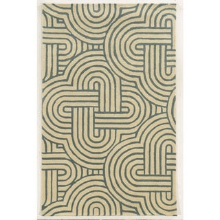 Rizzy Home Ivory Julian Pointe Collection 100-percent Wool Hand-Hand-Tufted Accent Rug (5' x 8') - 5' x 8'
