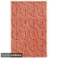 Rizzy Home Ivory/ White/ Blue/ Red/ Green/ Gold Julian Pointe Collection 100-percent Wool Hand-Hand-Tufted Accent Rug (9' x 12')
