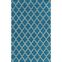 Rizzy Home White/ Blue/ Red/ Green/ Gold/ Orange Julian Pointe Collection Wool Hand-Hand-Tufted Accent Rug (8' x 10')