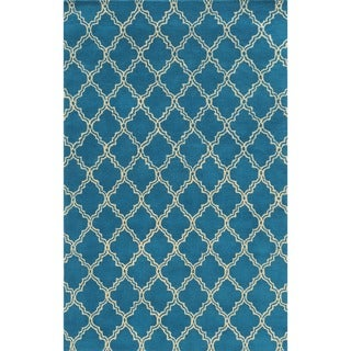 Rizzy Home White/ Blue/ Red/ Green/ Gold/ Orange Julian Pointe Collection Wool Hand-Hand-Tufted Accent Rug (8' x 10') - 8' x 10'
