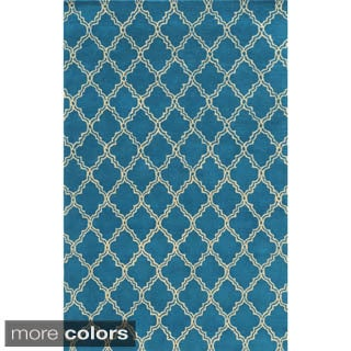 Rizzy Home White/ Blue/ Red/ Green/ Gold/ Orange Julian Pointe Collection Wool Hand-Hand-Tufted Accent Rug (9' x 12')
