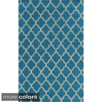 Rizzy Home White/ Blue/ Red/ Green/ Gold/ Orange Julian Pointe Collection Wool Hand-Hand-Tufted Accent Rug - 9' x 12'
