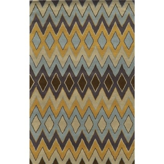 Rizzy Home Gold Pierre Collection 100-percent Wool Hand-Tufted Accent Rug (8' x 10') - 8' x 10'