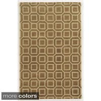 Rizzy Home Black/ Beige/ Brown Julian Pointe Collection 100-percent Wool Hand-Hand-Tufted Accent Rug - 9' x 12'