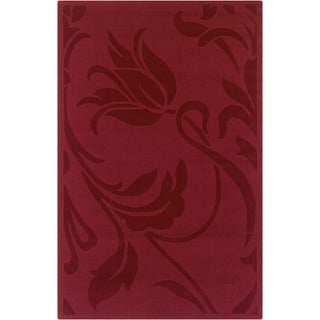 Rizzy Home Red Platoon Collection New Zealand Wool Blend Hand-Tufted Accent Rug (5' x 8') - 5' x 8'