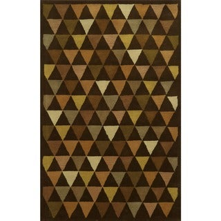 Rizzy Home Ivory/ Brown Julian Pointe Collection 100-percent Wool Hand-Hand-Tufted Accent Rug (8' x 10')