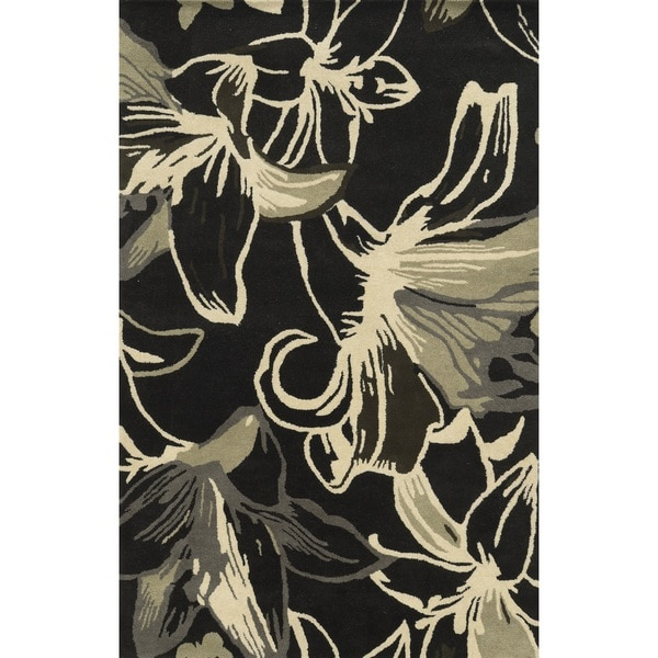 Rizzy Home Black Pierre Collection 100-percent Wool Hand-Hand-Tufted Accent Rug (9' x 12') - 9' x 12'