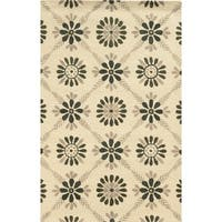 Rizzy Home Ivory/ Grey/ Beige Rockport Collection 100-percent Wool Hand-Tufted Accent Rug - 5' x 8'