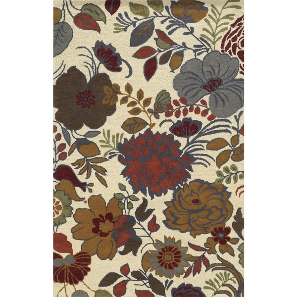 Rizzy Home Beige Rockport Collection 100-percent Wool Hand-Tufted Accent Rug (5' x 8') - 5' x 8'