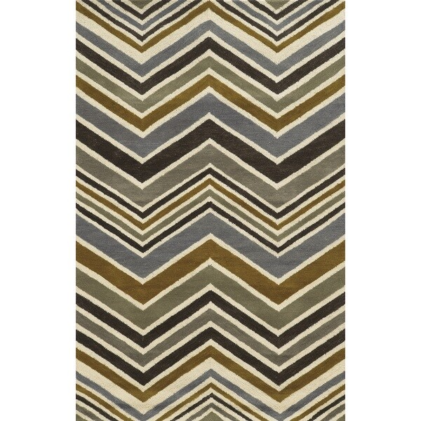 Rizzy Home Grey Rockport Collection 100-percent Wool Hand-Tufted Accent Rug (5' x 8') - 5' x 8'