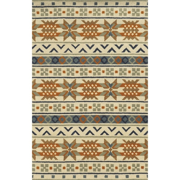 Rizzy Home Ivory Rockport Collection 100-percent Wool Hand-Tufted Accent Rug (5' x 8') - 5' x 8'