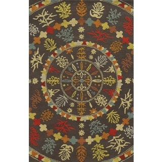 Rizzy Home Brown Collection 100-percent Wool Hand-Tufted Accent Rug (8' x 10')