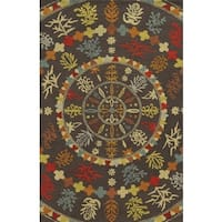 Rizzy Home Brown Collection 100-percent Wool Hand-Tufted Accent Rug (9' x 12')