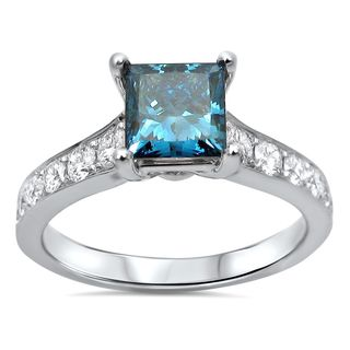 Noori 14k White Gold 1 3/5 CT Blue Princess-cut Diamond Engagement Ring (SI1-SI2)