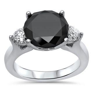 Noori 18k White Gold 4 1/2 CT Black Round-cut Diamond Engagement Ring